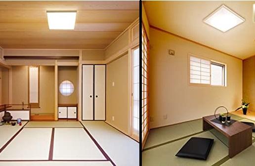 かっこいい和室にする角型のシーリングライト