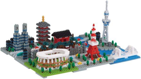 ナノブロックの東京タワーなどの情景を組み合わせた作品
