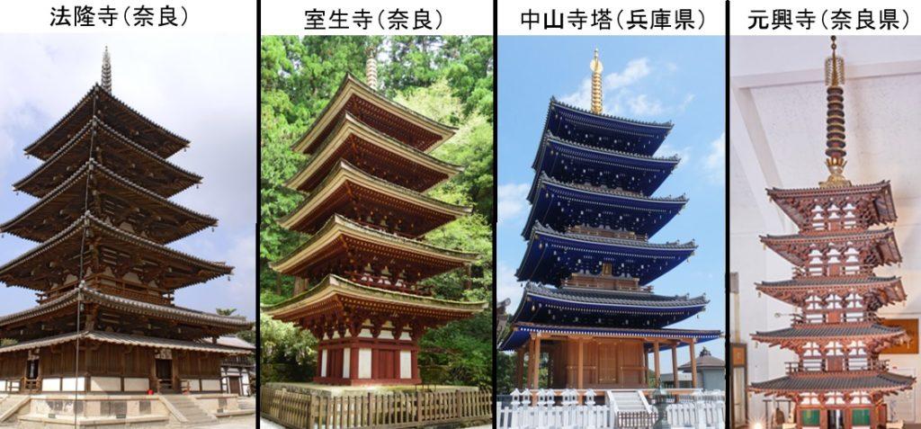 五重塔の4つを比べてみた写真